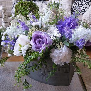EXQUISITE COTTAGE Chic LILACS & ROSES Floral DECOR